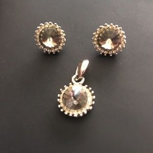 Vintage Park Lane smoky faceted dome stone set